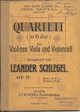 Strijkkwartet no.1 op 17 (partituur) - met handgeschreven opdracht aan Henri Marteau